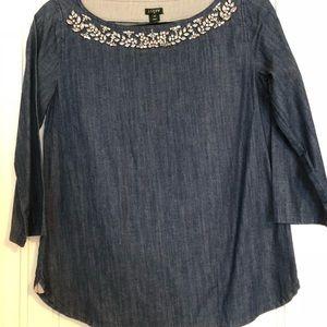 Embellished chambray Jcrew 3/4 length shirt